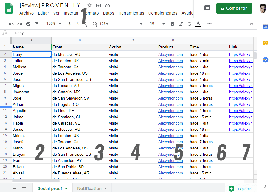 Completar Google Sheets