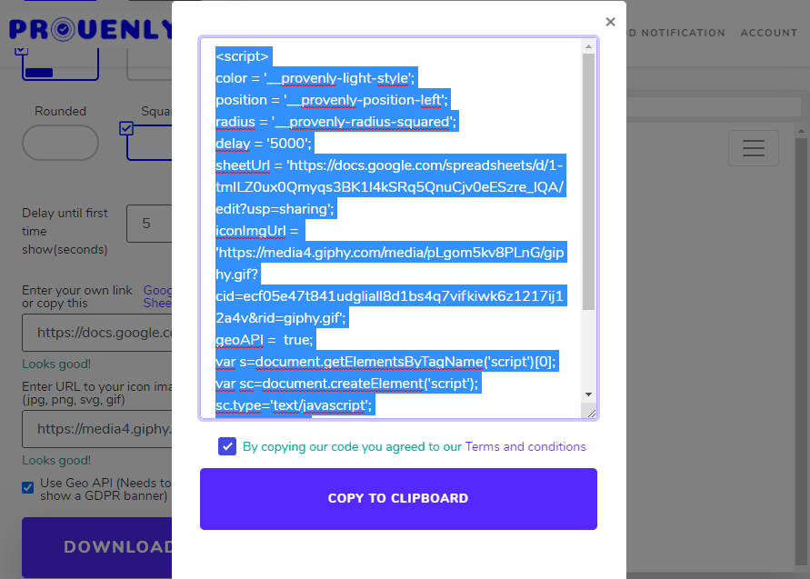 Generar script a incrustar