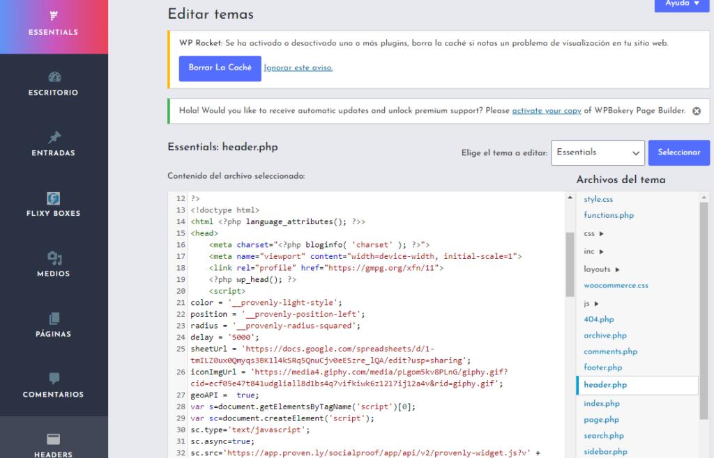 Incrustar script en header