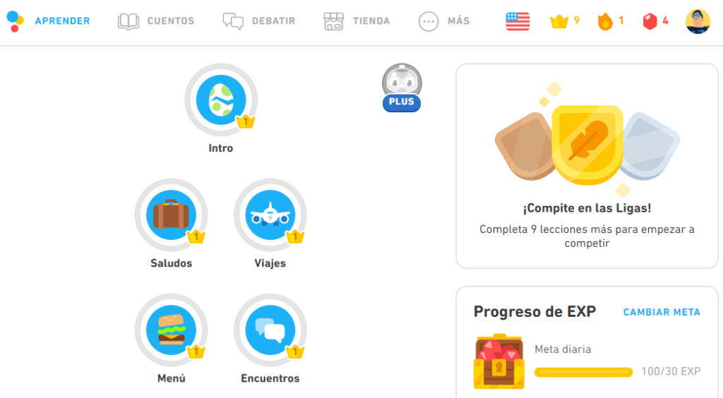 Plataforma Duolingo para aprender idiomas