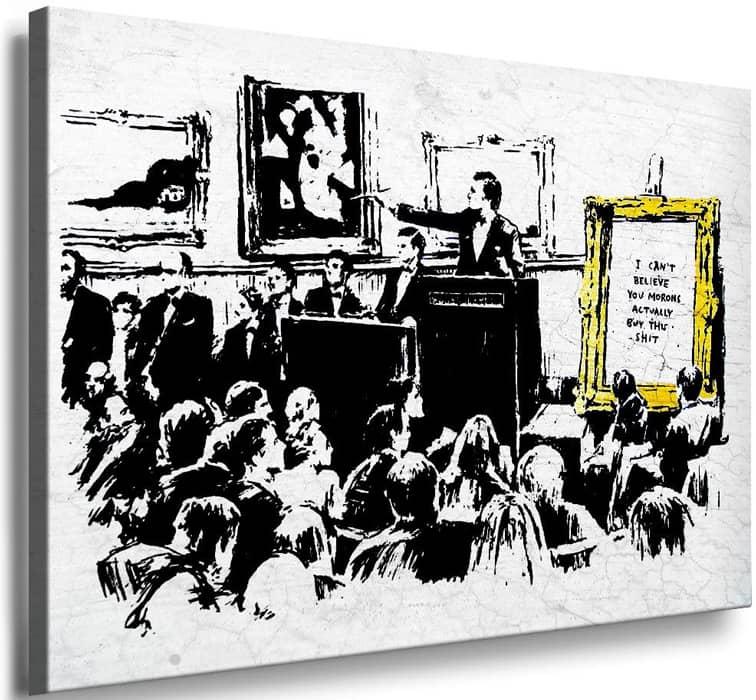 """Stencil """"Morons"""" (white) del artista de arte callejero Banksy"""